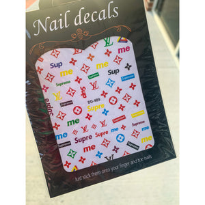 Luxury Designer Inspired LV Stickers - LV Nail Stickers - Colorful LV Nail Decals