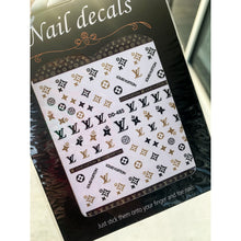 3D Nail Art Accessories - Luxury Designer Inspired LV Stickers - LV Nail Stickers - Brown and Black LV Nail Decals