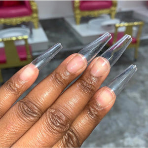 50 / 100 / 500 pcs Long CLEAR Coffin Nail Tips & Nail Stickers BUNDLE- Full Coverage Coffin Nail Tips - Ballet Nail Tips