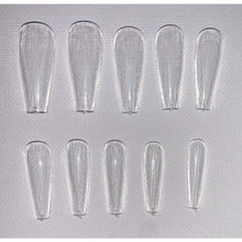 50 / 100 / 500 pcs Long CLEAR Coffin Nail Tips- Full Coverage Coffin Nail Tips - Ballet Nail Tips