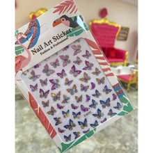 Purple and Blue 3D Nail Art Butterfly Stickers - Holographic Butterfly Nail Decals