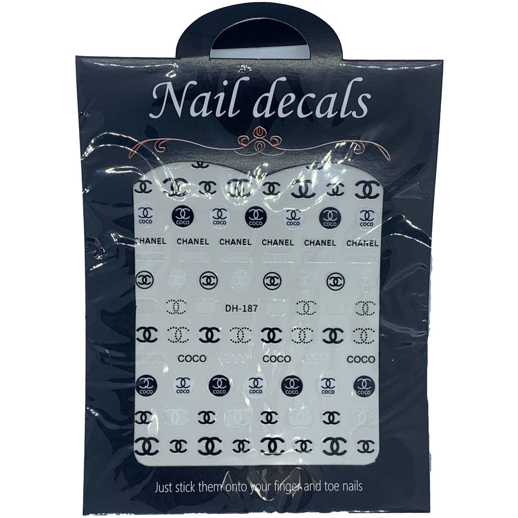 3D Nail Art Accessories - Luxury Designer Chanel  Inspired Stickers - Nail Stickers - Designer Nail Decals