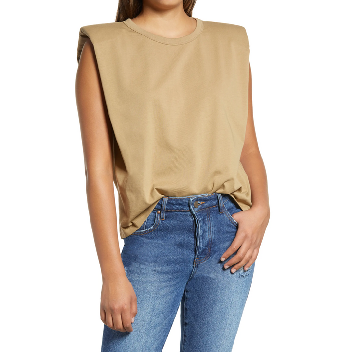 Shoulder Padded Tee Taupe