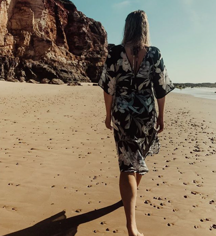 Alulu Esana Silk cotton kaftan dress Byron Bay fashion