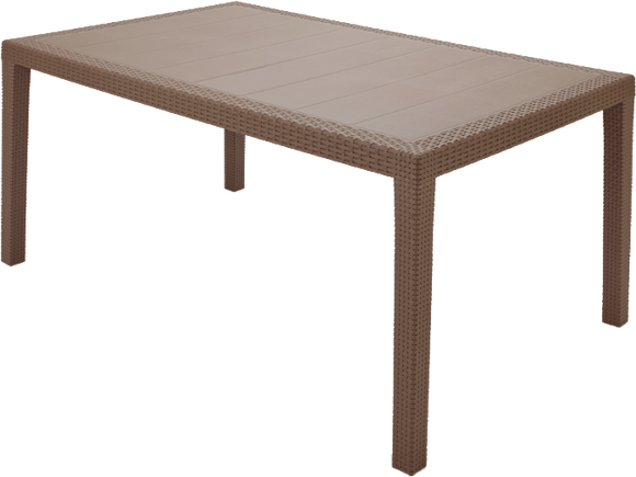 Prince Rattan Effect Rectangular Table Taupe