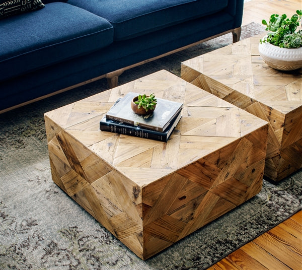 Two modern square wood coffee tables