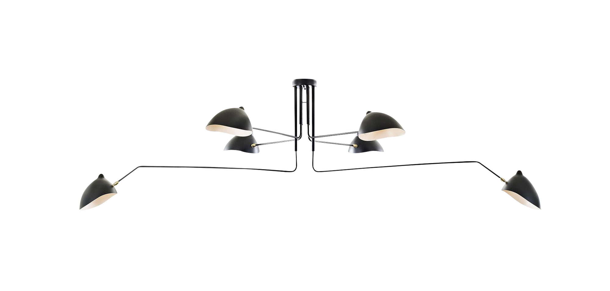 Serge Mouille MCL-6 Black Six Arm Ceiling Lamp