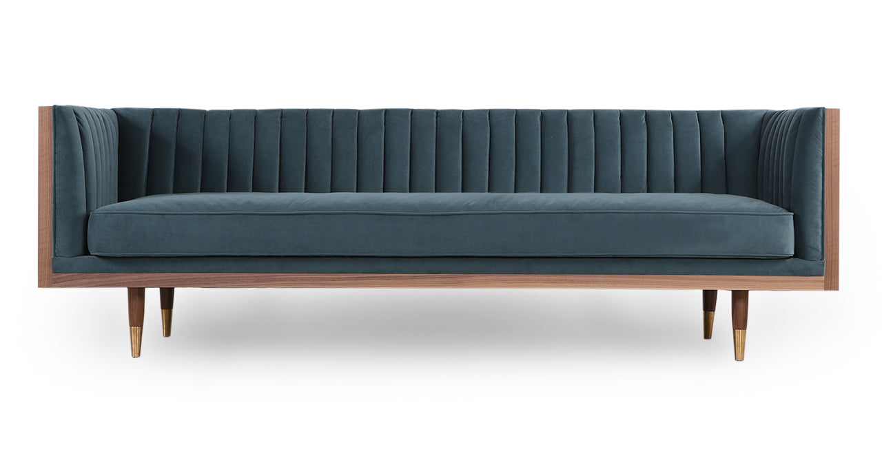 Linear line channel tufted sofa blue velvet