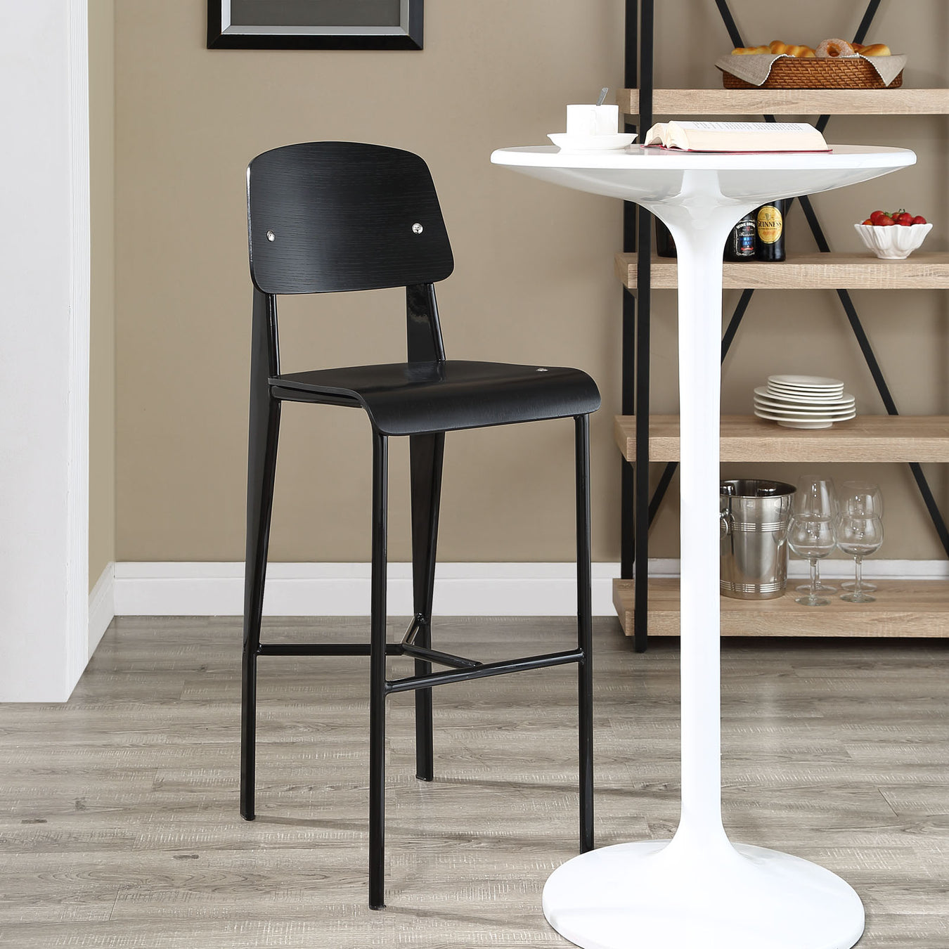 Black Prouve Bar Stool & White Saarinen Style Tulip Bistro Bar Table - Designdistrict