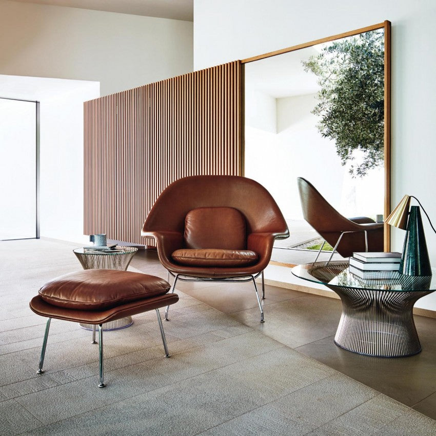 Mid century modern saarinen leather womb chair and ottoman along with platner coffee table and platner side table