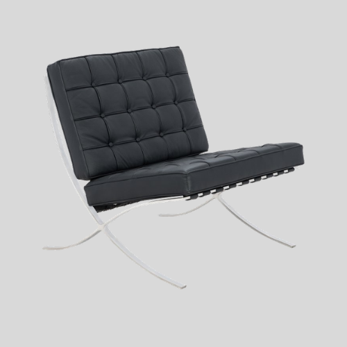 Mid Century Modern Barcelona Lounge Chair in Black Leather by Ludwig Mies Van Der Rohe
