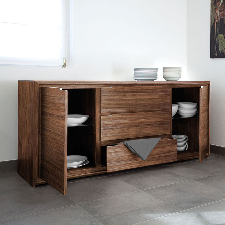 Modern Wood Sideboard Serving Buffet For Dining Room Area Storage For Dishes
