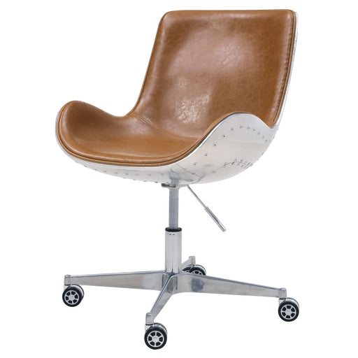 Abner Swivel Office Chair-Distressed Caramel