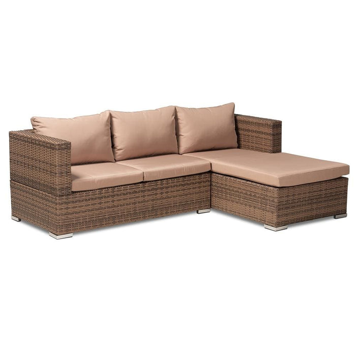 Addison 3 Pc Outdoor Rattan Set Light Brown