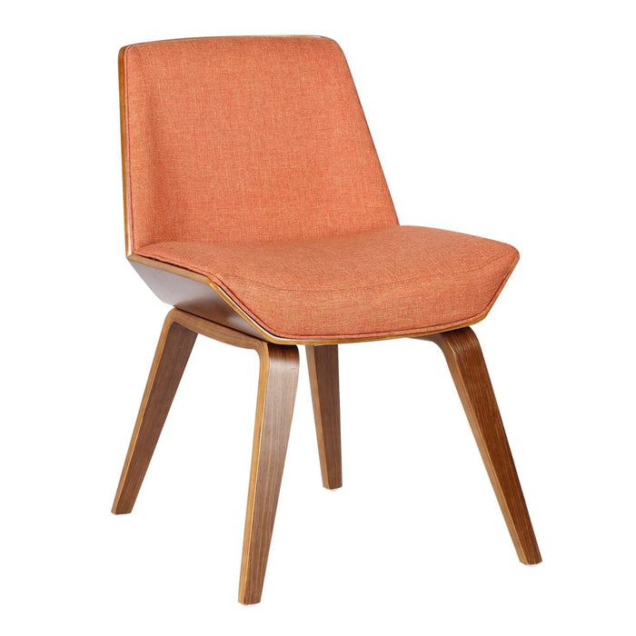 Agi Mid-Century Dining Chair in Walnut Wood and Orange Fabric