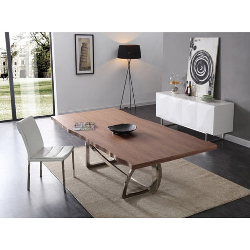 Aiken Walnut & Stainless Steel Dining Table