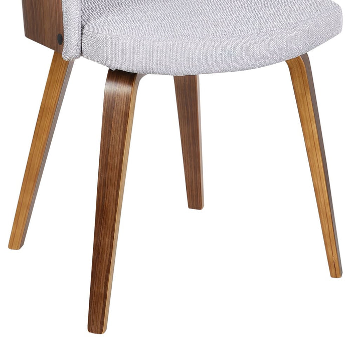 Alpine Mid-Century Dining Chair in Gray Fabric with Walnut Wood