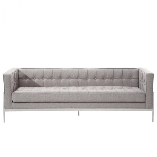 Andrew Gray Tweed and Stainless Steel Contemporary Sofa