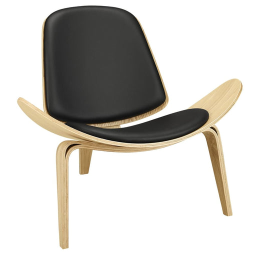 Arch Shell Chair Black on Oak