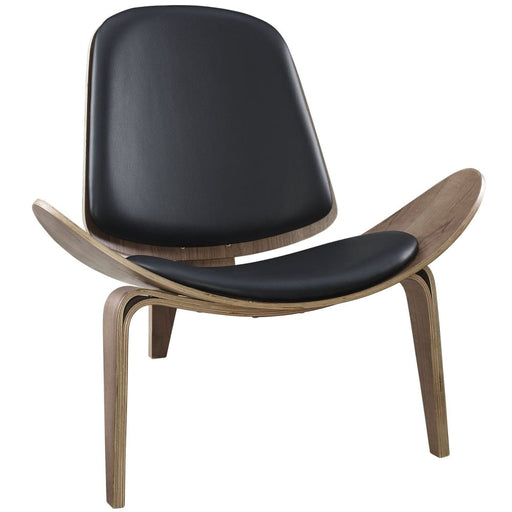 Arch Shell Chair Black on Walnut