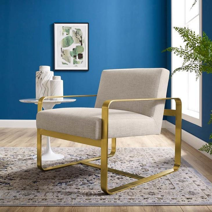 ASTUTE UPHOLSTERED FABRIC ARMCHAIR GOLD BEIGE