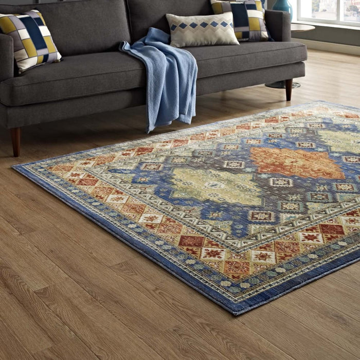 ATZI DISTRESSED SOUTHWESTERN DIAMOND FLORAL 5X8 AREA RUG