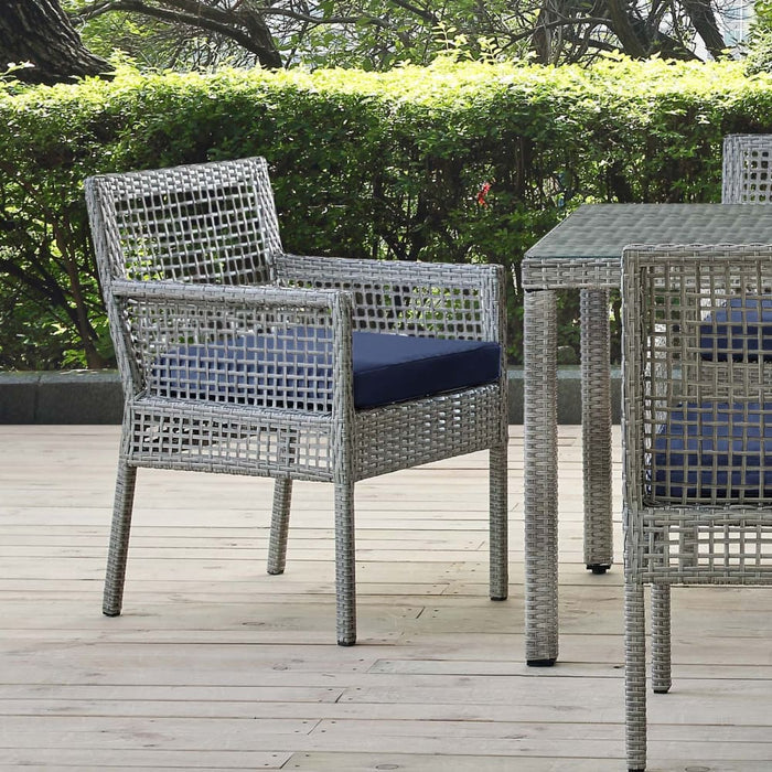 AURA OUTDOOR PATIO WICKER RATTAN DINING ARM CHAIR