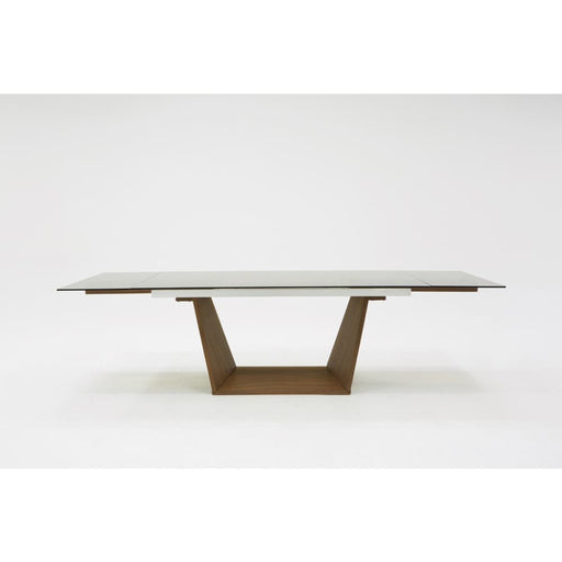 Babia Smoked Glass & Walnut Extendable Dining Table