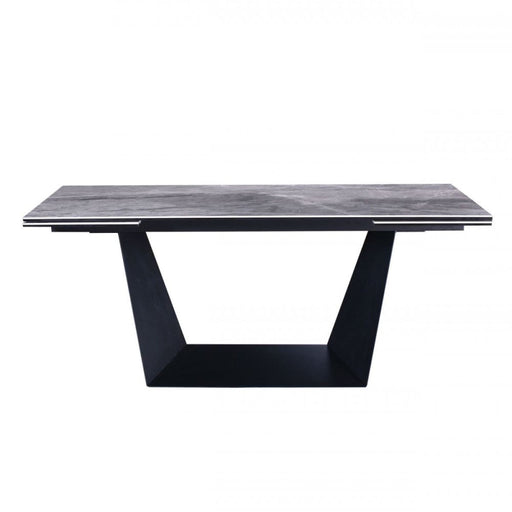 Baldwin Grey Ceramic and Black Metal Extendable Dining Table