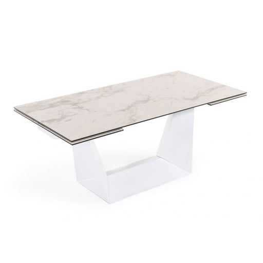 Baldwin White Ceramic Extendable Dining Table