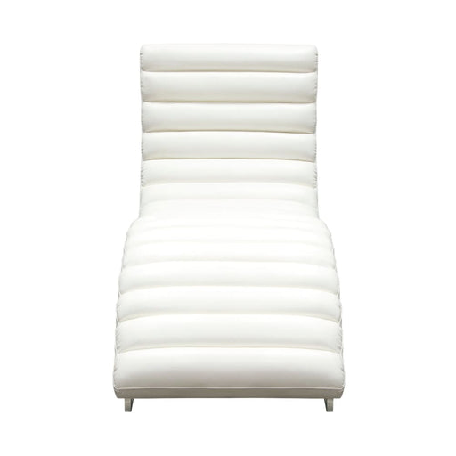 Bardot Chaise Lounge w/ Stainless Steel Frame - White