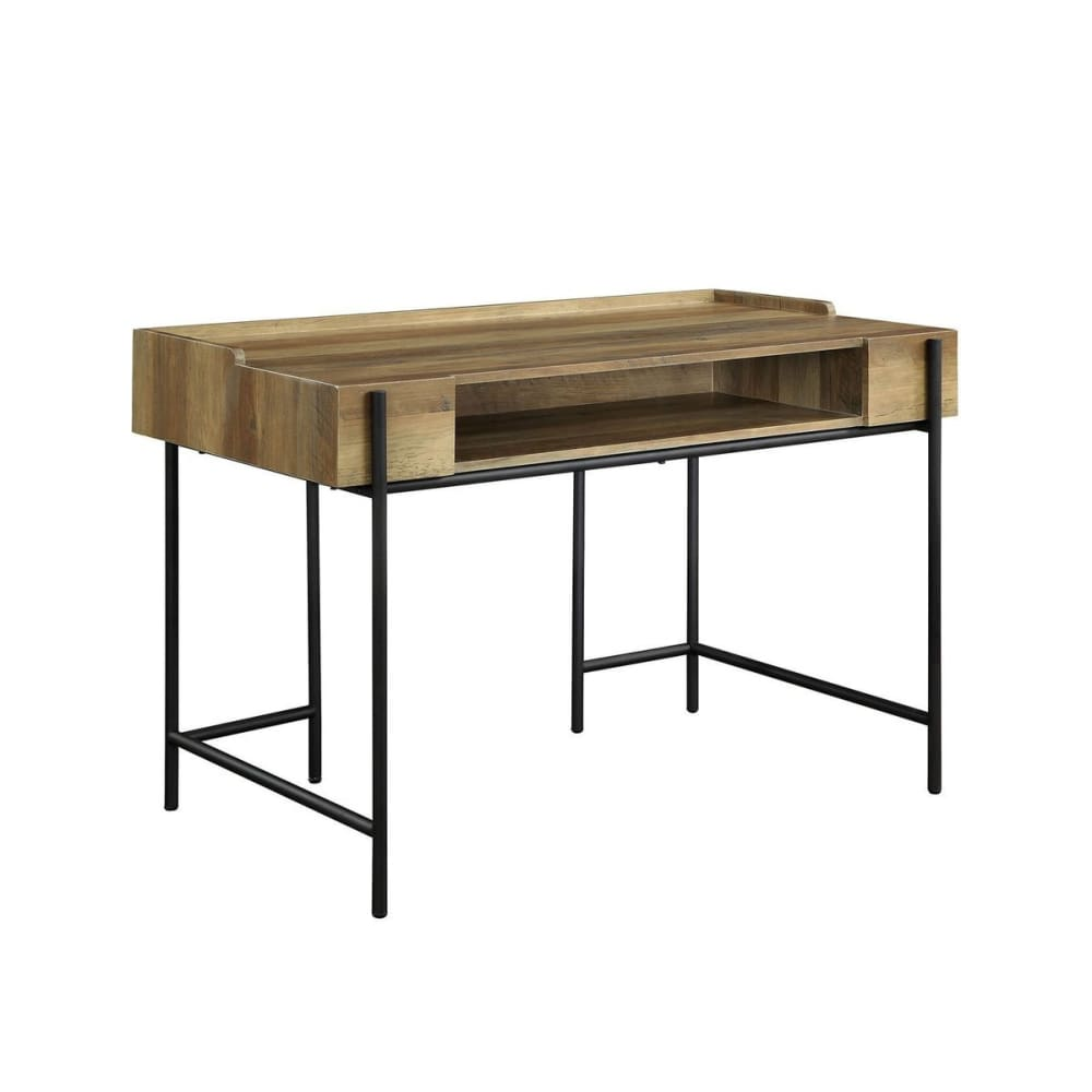 Bartow Industrial Style Metal Framed Wooden Desk