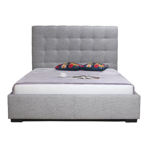 BELLE STORAGE BED QUEEN LIGHT GREY FABRIC