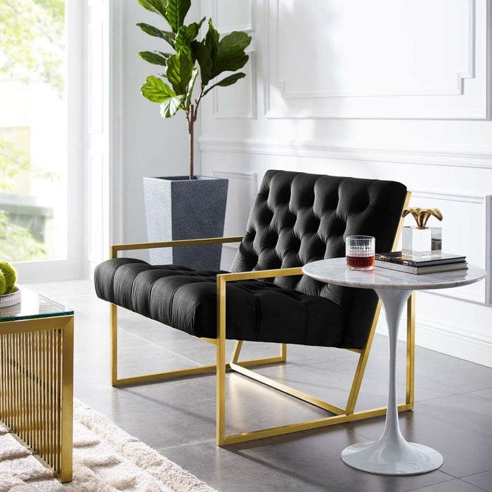BEQUEST GOLD STAINLESS STEEL UPHOLSTERED VELVET ACCENT CHAIR