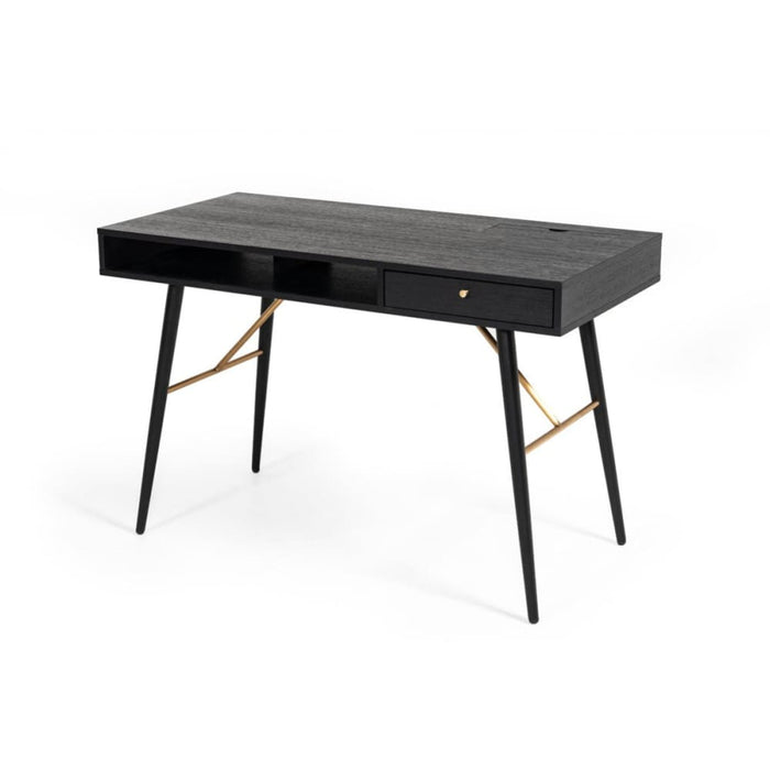 Billy Modern Black Oak and Gold Desk