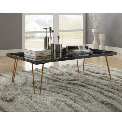 Black Marble Rectangular Coffee Table Metal Hairpin Legs