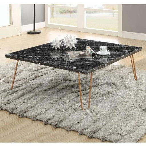 Black Marble Square Coffee Table Metal Hairpin Legs