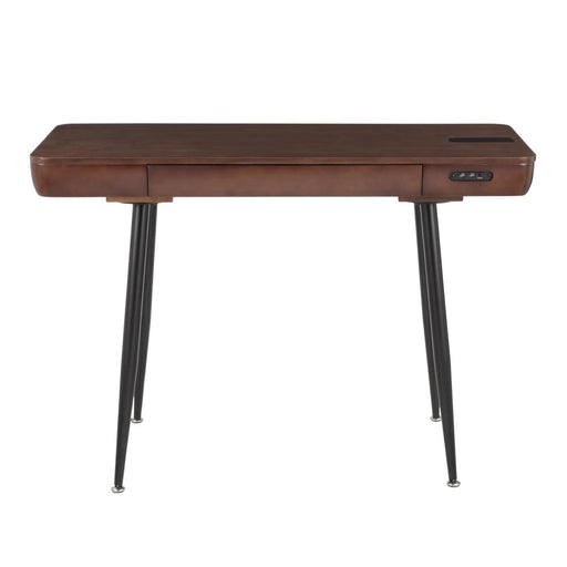 Boom Desk Black Metal Walnut Wood Top