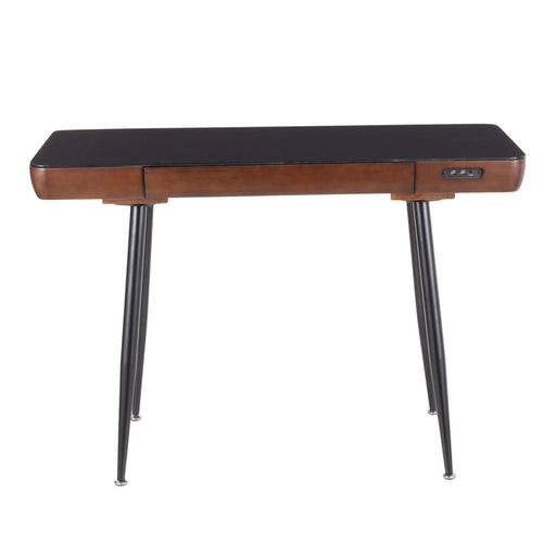 Boom Desk Black Metal Walnut Wood Top Glass