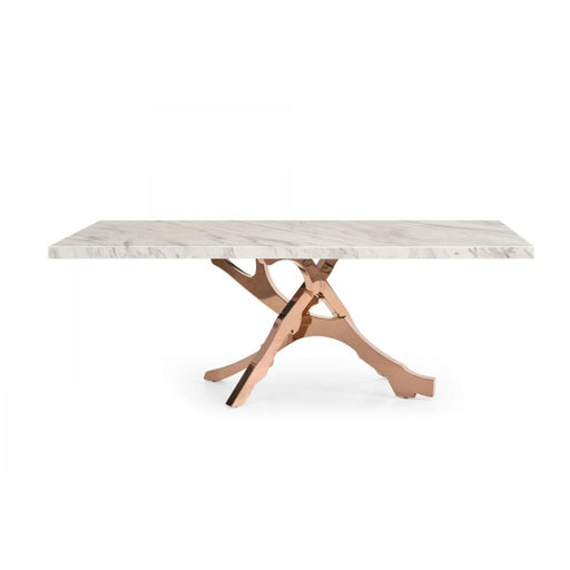 Branching Modern White Marble & Rose Gold Dining Table