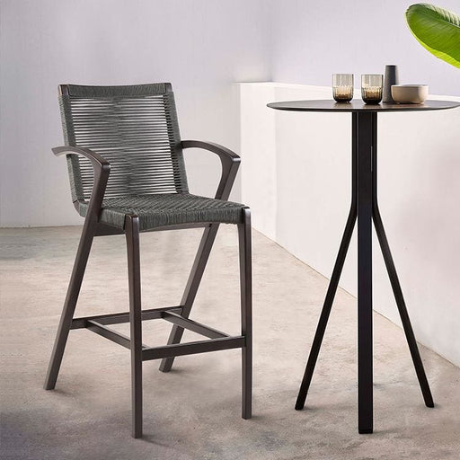 Brielle 30 Outdoor Dark Eucalyptus Wood and Grey Rope Bar Stool