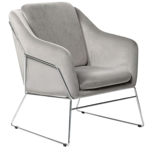 Bryson Accent Chair Gray Velvet Chrome