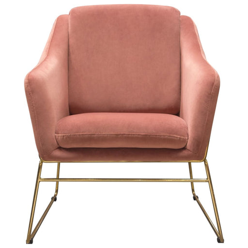 Bryson Accent Chair Rose Velvet Gold