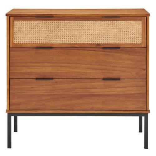 Caine Rattan Chest 3 Drawers Brown