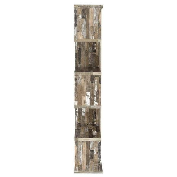 Camille Distressed Wooden Open Bookcase Brown