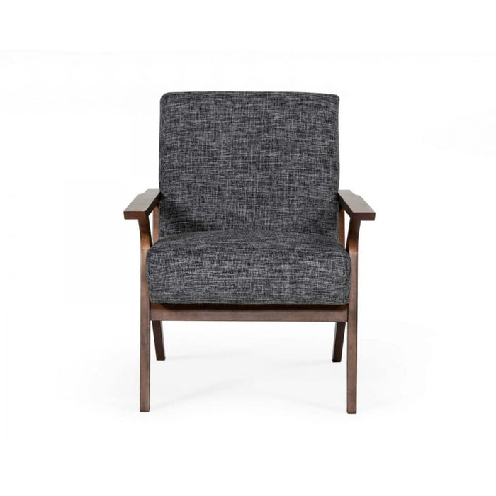 Candea Mid-Century Walnut and Grey Accent Chair