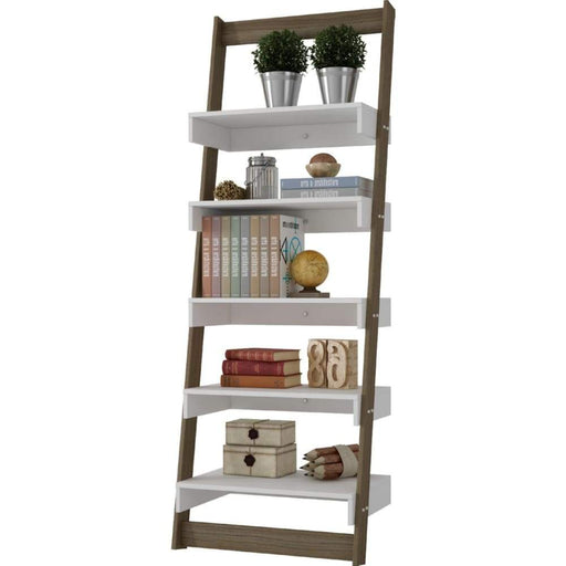 Carina Ladder Shelving in Oak Frame White Shelves