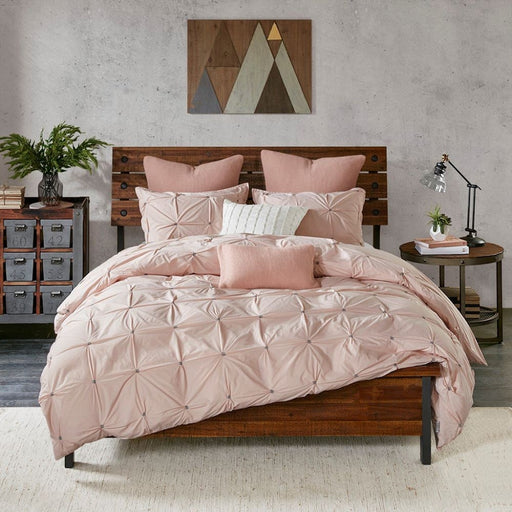 Cassie 3 Piece Queen Elastic Embroidered Cotton Comforter Set Blush