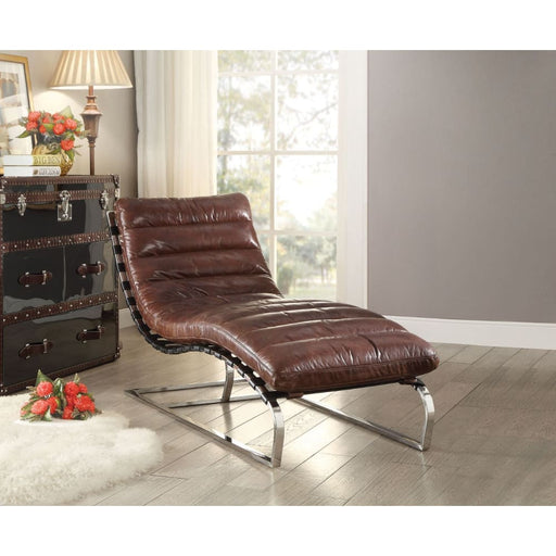 Cavett Chaise Lounge Chair-Distressed Dark Brown