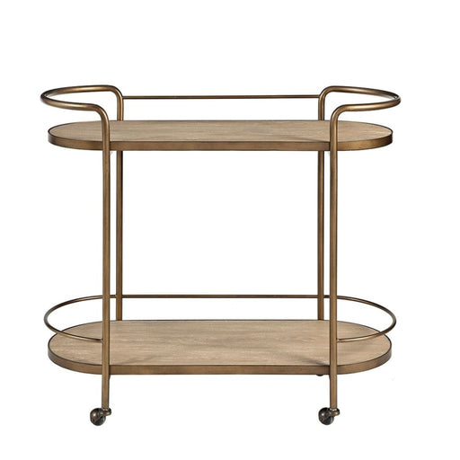 Celeb Ash Veneer Bronze Metal Bar Cart
